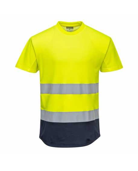 Dwukolorowy t-shirt siatkowy - C395 Portwest