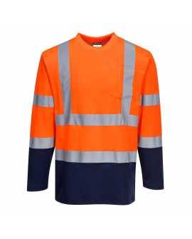 Dwukolorowa koszulka t-shirt Cotton Comfort z długimi rękawami - S280 Portwest